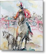 Calf Roping Metal Print