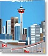 Calgary Alberta Canada Vertical Skyline Metal Print