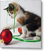 Calico Kitten And Christmas Ornaments Metal Print