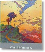 California - America's Vacation Land And New York Central Lines - Retro Travel Poster - Vintage Metal Print