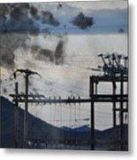 California Cascade Power Lines Metal Print