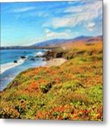 California Coast Wildflowers On Cliffs Ap Metal Print