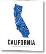California Map Art Abstract In Blue Metal Print