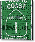 California Route 1 Pacific Coast Highway Sign Recycled Vintage License Plate Art Metal Print