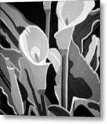 Calla Lilies Bw Metal Print