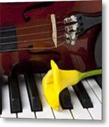 Calla Lily And Violin On Piano Metal Print
