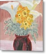 Callas, Daffys, And Dusty Miller Metal Print