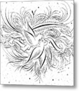 Calligraphic Love Birds Metal Print