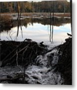 Calm Photo Of Water Flowing Metal Print