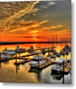 Calm Waters Bull River Marina Tybee Island Savannah Georgia Art Metal Print