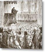 Calvin Preaching His Farewell Sermon In Expectation Of Banishment Metal Print