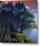 Calypso Mountains Oil On Canvas Metal Print
