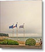 Camaret Sur Mer, Brittany, France, Bicyclist Metal Print