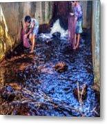 Cambodian Boys Netting Fish Metal Print
