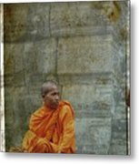 Cambodian Monk At Angkor Wat Metal Print