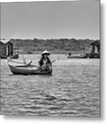 Cambodian Woman In A Boat Metal Print