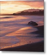 Cambria Coastline With Shimmering Sunset Color Metal Print
