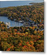Camden Harbor In The Fall Metal Print