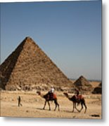 Camel Ride At The Pyramids Metal Print