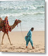 Camel Ride On Beach Metal Print