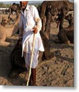Camel Trader Pushkar Metal Print
