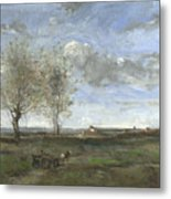 Camille Corot   A Wagon In The Plains Of Artois Metal Print