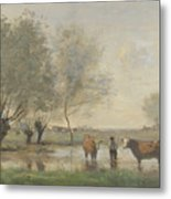 Camille Corot   Cows In A Marshy Landscape Metal Print