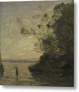Camille Corot   Evening On The Lake Metal Print