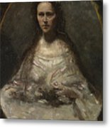 Camille Corot   Sketch Of A Woman In Bridal Dress Metal Print