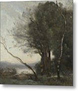 Camille Corot   The Leaning Tree Trunk Metal Print