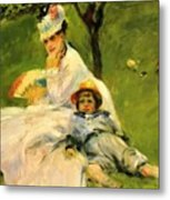 Camille Monet And Her Son Jean In The Garden At Argenteuil 1874 Metal Print