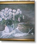 Camomile In The Pot And Busket With Pearls  Metal Print