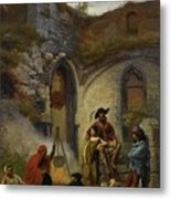 Camp Gypsies In The Ruins Of The Abbey Metal Print