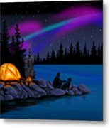 Camping With Dog Metal Print