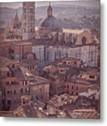 Campanile And Cathedral In Siena Italy Antique Matte Metal Print
