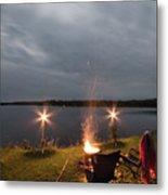 Campsite Lakeside Metal Print