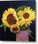 Can Of Sunflowers Metal Print