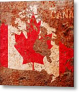 Canada Flag Map Metal Print
