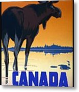 Canada For Big Game Travel Canadian Pacific - Moose - Retro Travel Poster - Vintage Poster Metal Print