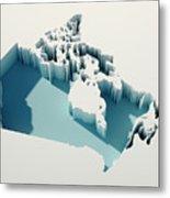 Canada Simple Intrusion Map 3d Render Metal Print