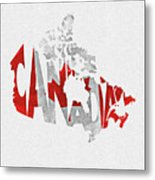 Canada Typographic Map Flag Metal Print