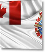 Canadian Armed Forces  -  C A F  Badge Over Flag Metal Print