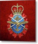 Canadian Armed Forces  -  C A F  Badge Over Red Velvet Metal Print
