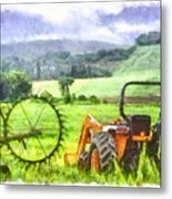 Canadian Farmland With Tractor Metal Print