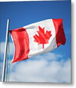 Canadian Flag Flying Proudly Metal Print