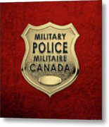 Canadian Forces Military Police C F M P  -  M P Officer Id Badge Over Red Velvet Metal Print
