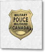 Canadian Forces Military Police C F M P  -  M P Officer Id Badge Over White Leather Metal Print