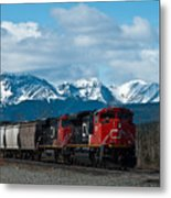 Canadian National Freight Train Leaving The Rockies - Hinton Alberta Metal Print