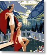 Canadian Pacific - Chateau Lake Louise - Canadian Rockies - Retro Travel Poster - Vintage Poster Metal Print