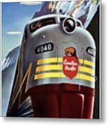 Canadian Pacific - Railroad Engine, Mountains - Retro Travel Poster - Vintage Poster Metal Print